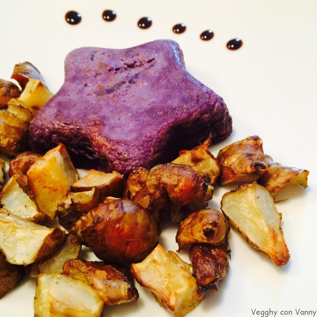 Flan di cavolo cappuccio viola con topinambur arrosto