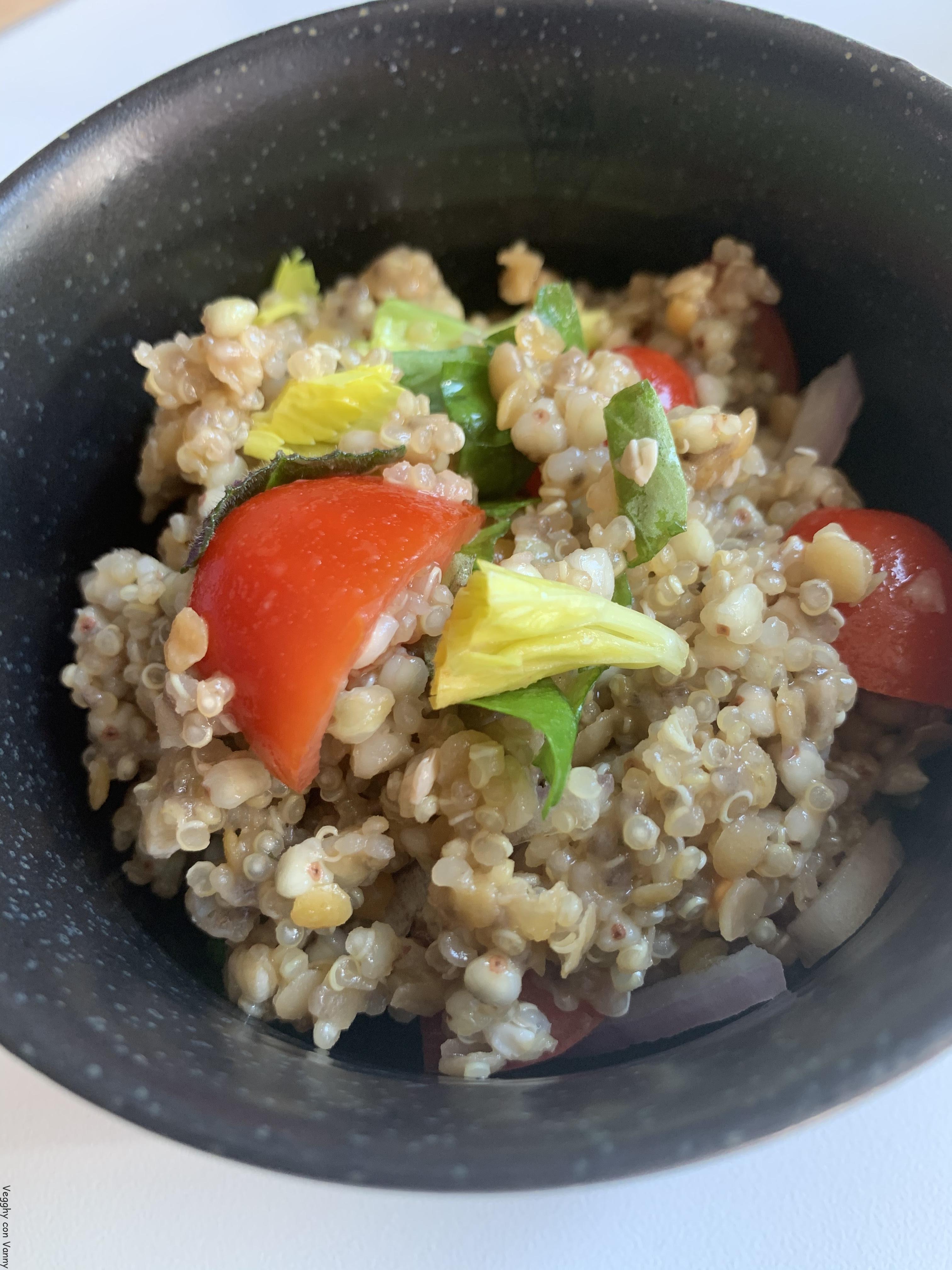 Mix di quinoa, grano saraceno, lenticchie rosse, chia e verdure (vegan)